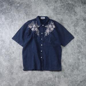 レディース 90年代 ビーズ刺繍 半袖 デニムシャツ  アメリカ古着 色染め ブルー L〜XL