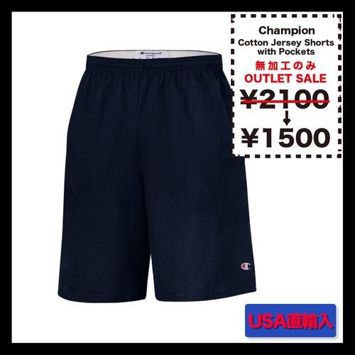 <<無加工のみ>> Champion  Cotton Jersey Shorts with Pockets ★在庫のみSALE (品番8180)