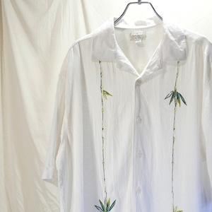 """【USED】90s hagger """"竹""""刺繍 半袖 リネンシャツ"""