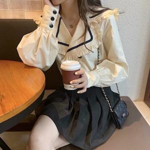 【即納】セーラー 開襟 ブラウス 2色