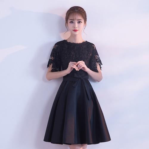 【送料無料】ミニワンピースドレス ワンピースドレス Aライン レース 透け感 ひざ上 ラウンドネック 半袖 結婚式(B135)