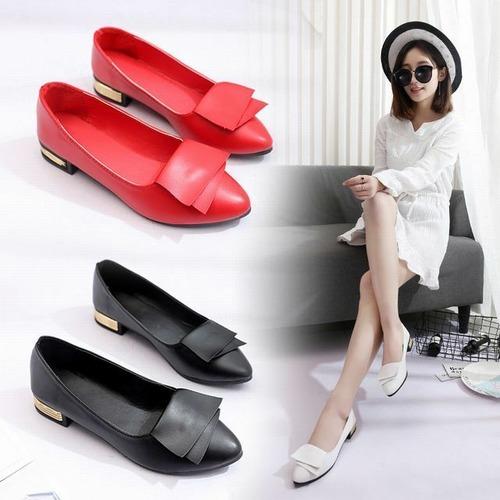 ポインテッドトゥ パンプス ローヒール 2.5cmヒール ブラック ホワイト レッド 韓国ファッション DCT-585774142624