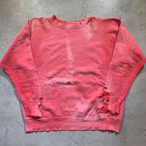 ~60's UNKOWN ラグランスウェットシャツ サンフェード ピンク ダメージ ボロ グランジ アートピース L位 希少 ヴィンテージ BA-1423 RM1792H