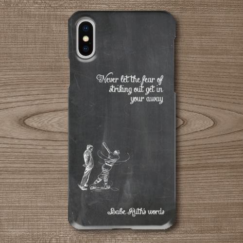 名言・格言/チョーク文字/ベーブルース/ベースボール/野球/黒板調/iPhoneスマホケース(ハードケース)