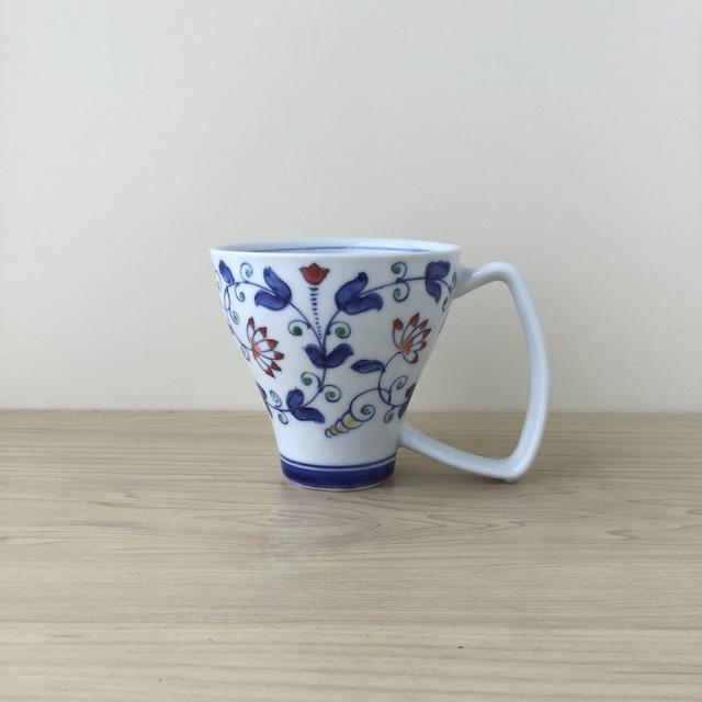 【吉田焼】つる草紋 マグカップ(青)【在庫限り】