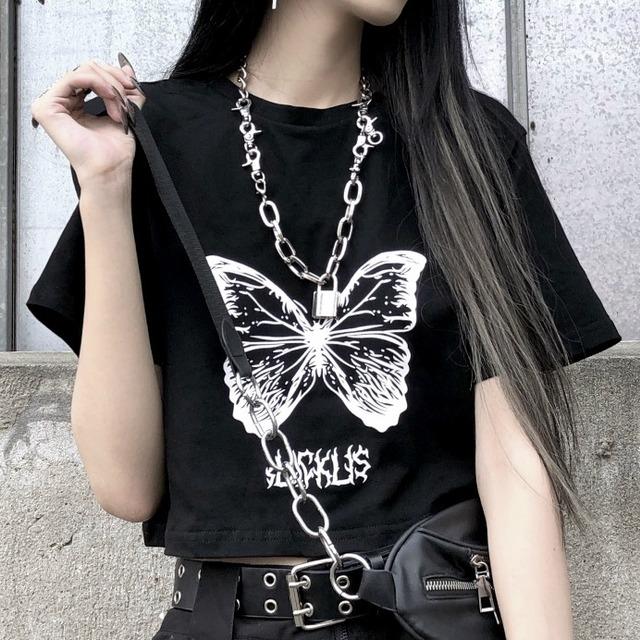 【トップス】プルオーバープリントシンプル韓国系ショート丈Tシャツ42201192