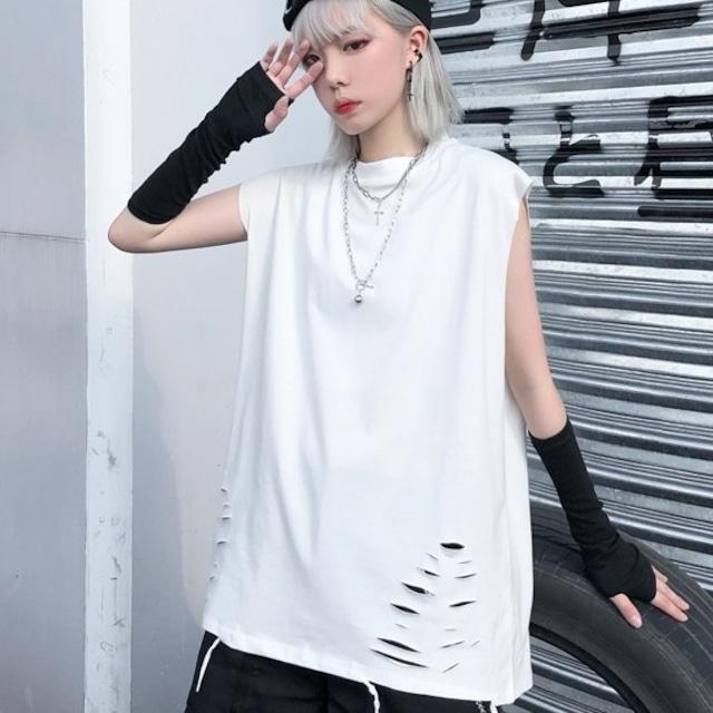 【トップス】ファッションノースリーブダメージ加工ラウンドネック無地キャミソール43013010