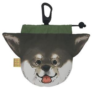 犬のウンチバッグ M【芝犬】(黒色) 防臭生地 / デオドラント加工布使用