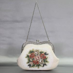 ビーズ刺繡 ハンドバッグ 250 白