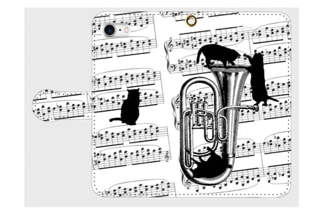 (iPhone用)チューバと黒猫の手帳型スマホケース