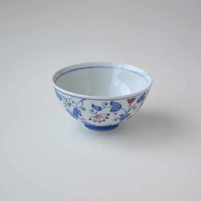 【吉田焼】つる草紋 青飯碗