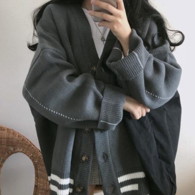 カジュアルガーリー♡オーバーサイズラインVネックカーディガン A0990