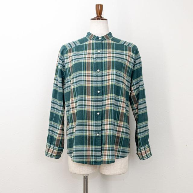【PASSIONE/パシオーネ】パールボタンバンドカラーネルシャツ(グリーン)