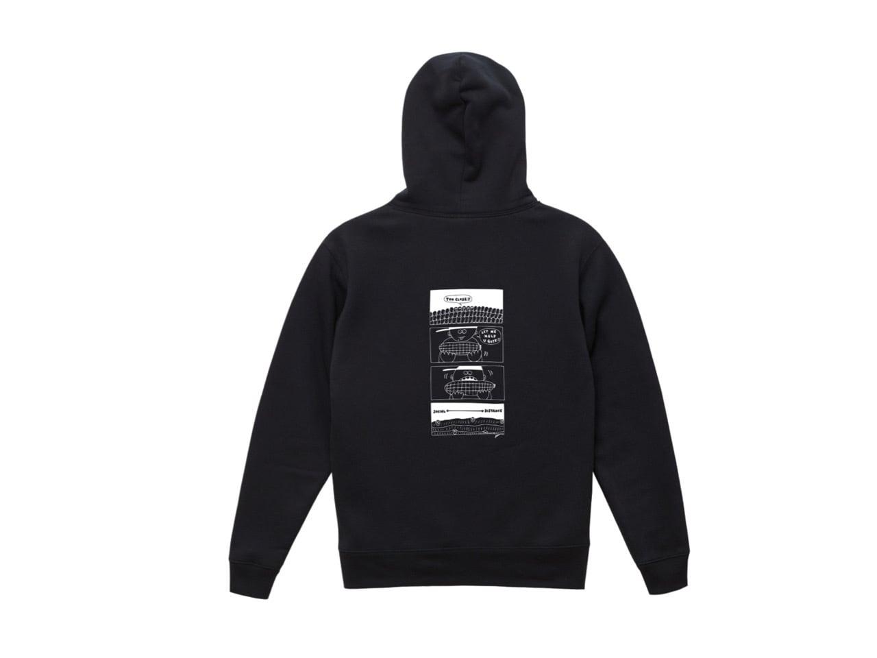 SHI × coguchi Corn SD hoodie (BLK/WH)