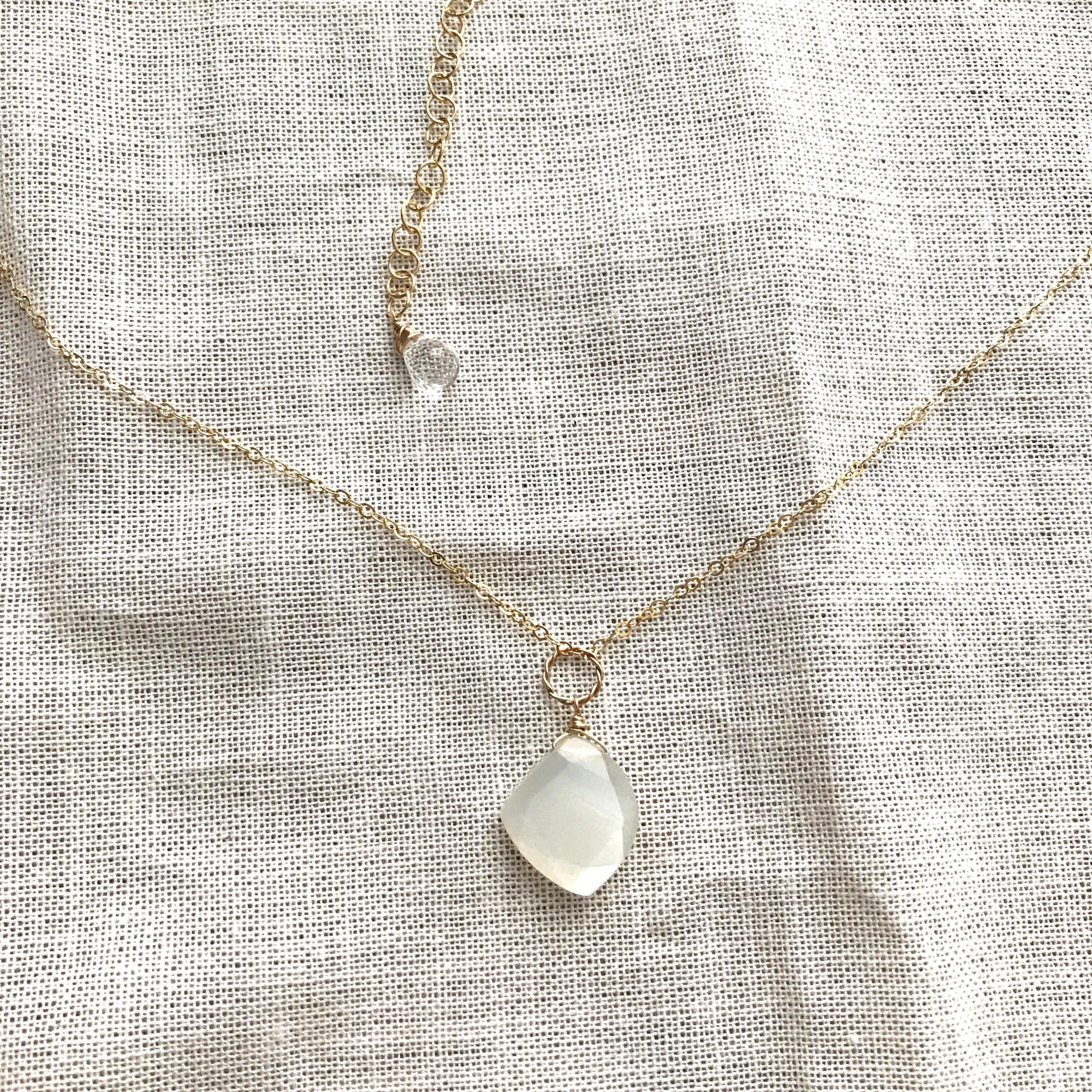 Moonstone*Necklace/K14 gf