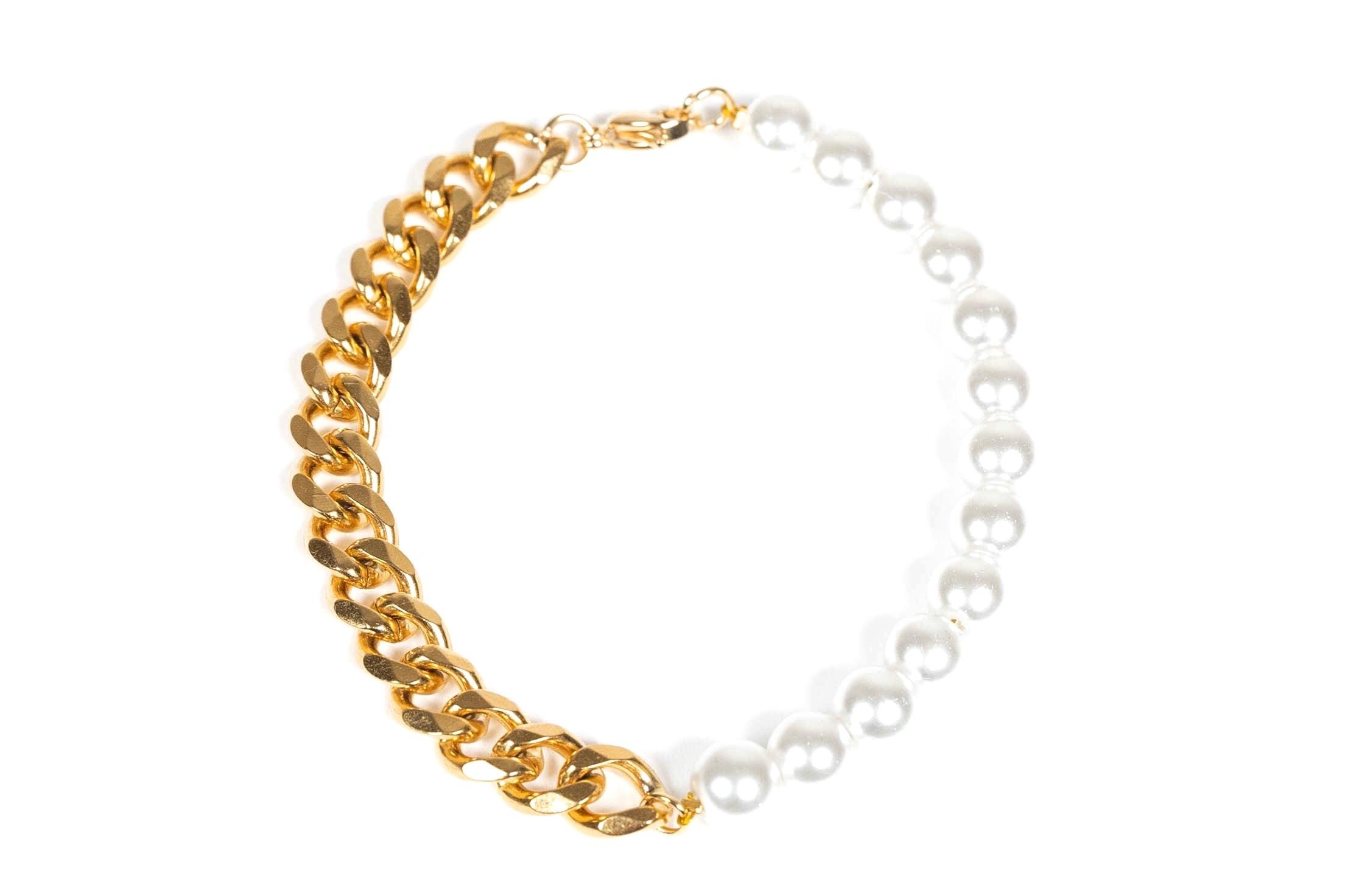 【316L pearl & chain bracelet】 / GOLD