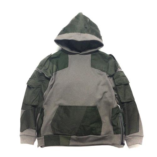 Remake Hoodie light brown×Military【hoodie08】