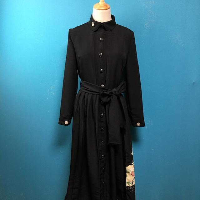 Vintage black kimono dress/ US 6/ round collar: embroidery