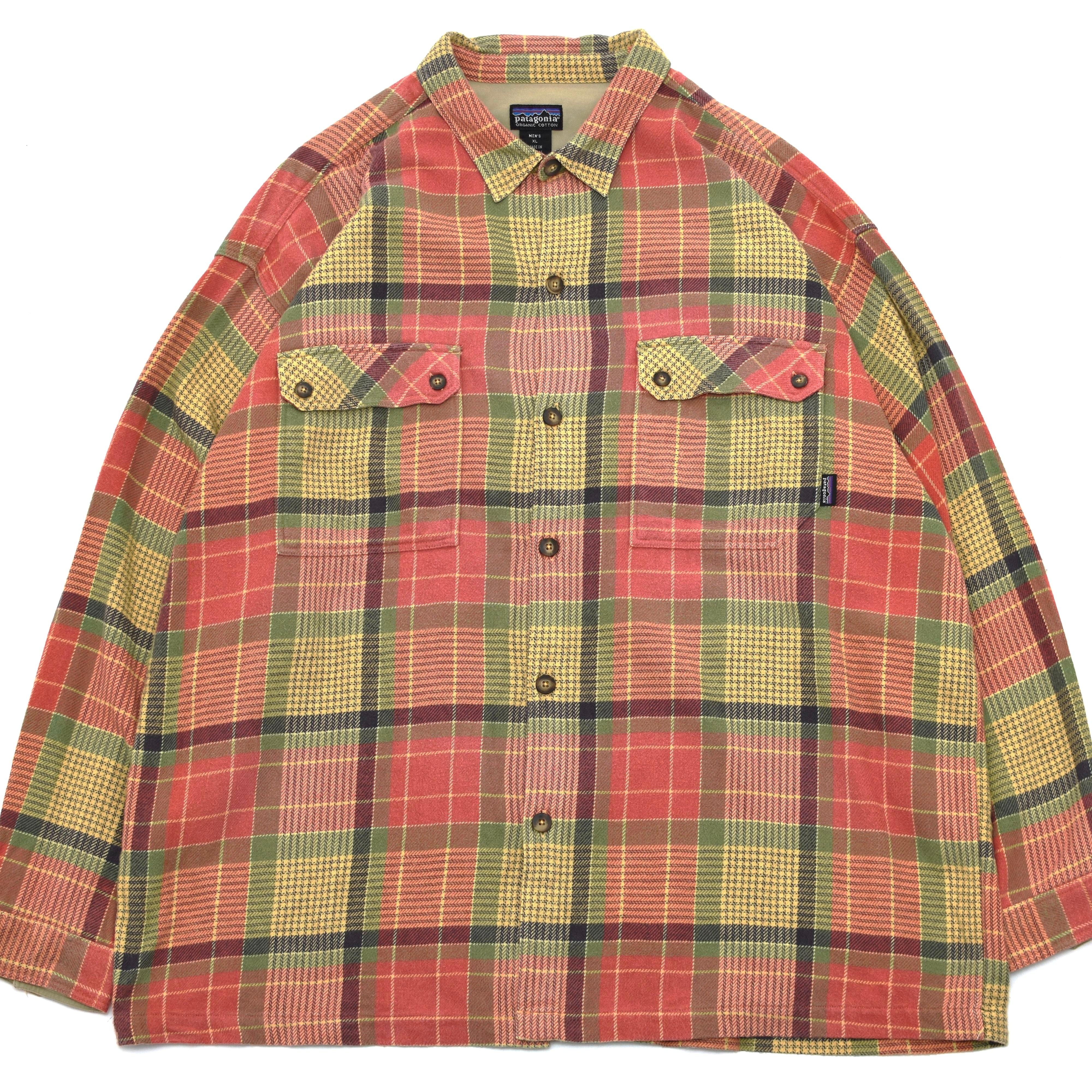 00's patagonia check heavy flannel shirt