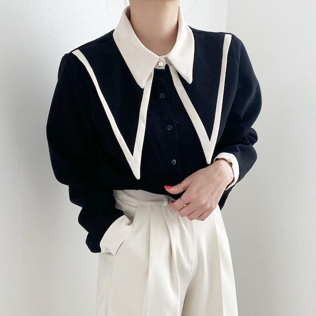 パールボタンエレガントシャツ(2color) B210527