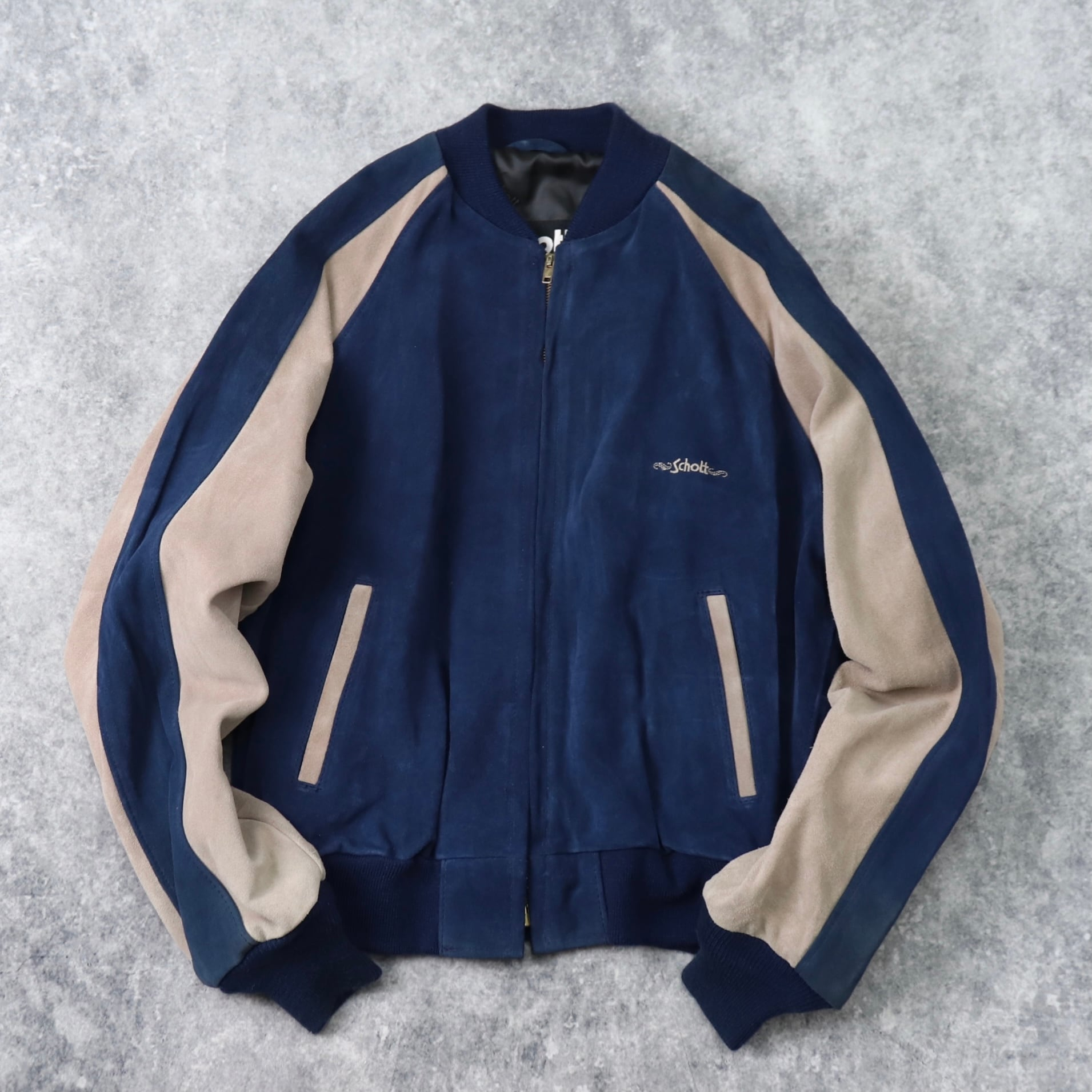 """Deadstock!!   """" Schott """"   Suede Leather Jacket  44   made in USA"""