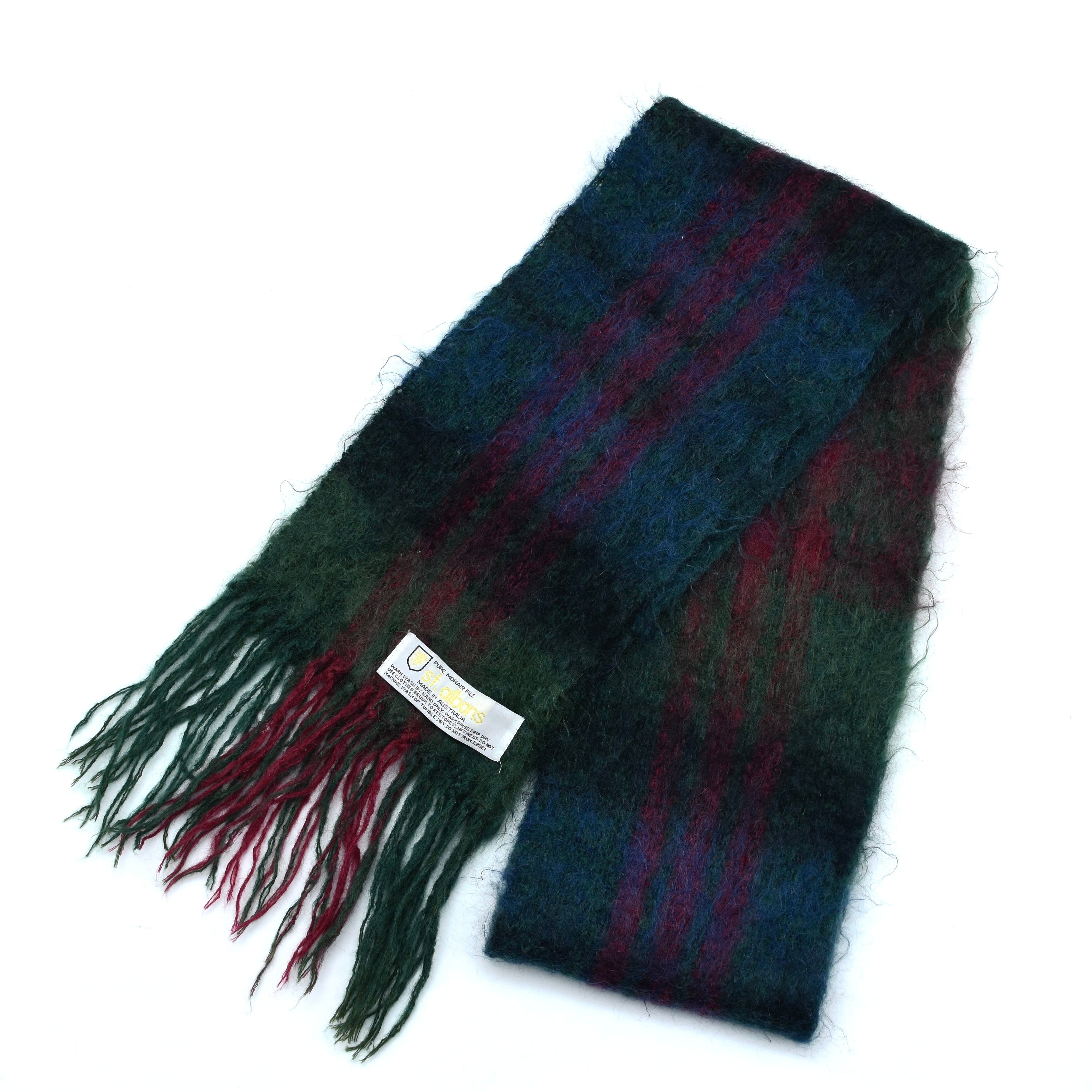 St.albans check mohair scarf