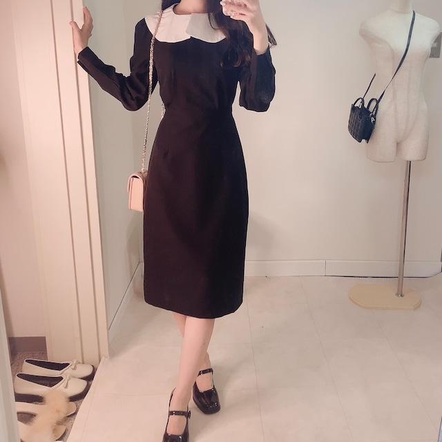 【即納】バイカラーロングドレス(Black)