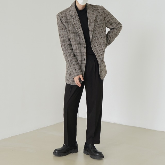 Wool check suit jacket   b-483