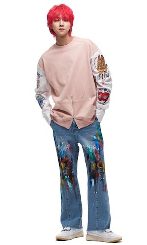 【MAN-G】アームシャツ切替刺繍ワッペンスウェットトップス