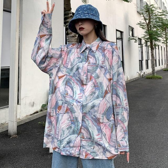【トップス】韓国系プリント長袖POLOネックシングルブレストシャツ43009029