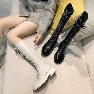 ロングブーツ 編み上げ マーチンブーツ レースアップ レディース ロリータ シューズ  コスプレ靴  大きいサイズ コスプレシューズ  黒 白 LOLITA 7124