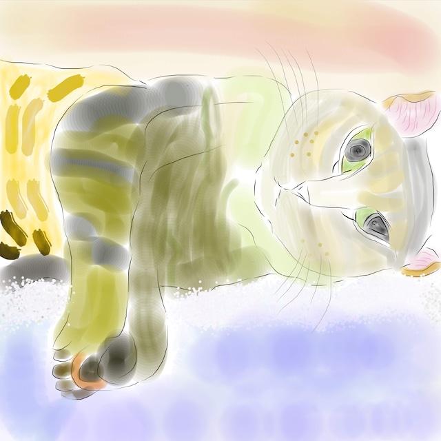 絵画 インテリア アートパネル 雑貨 壁掛け 置物 おしゃれ 風景画 アブストラクトアート ロココロ 画家 : YUTA SASAKI 作品 : 夢のある猫