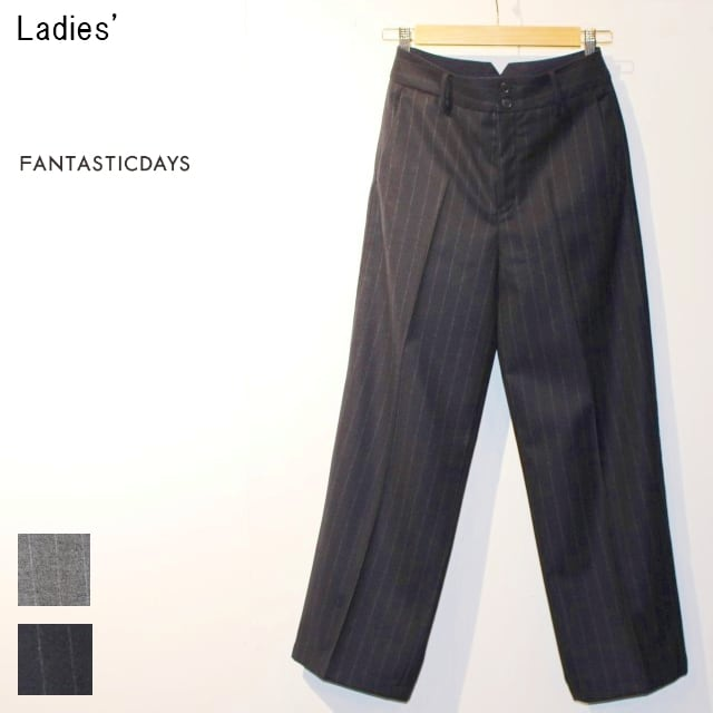 FANTASTICDAYS ウールワイドパンツ HUGE-63-02 (NAVY) 【Lady's】