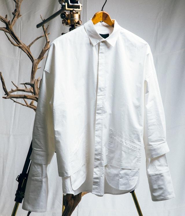 JOE CHIA - Mens woven oversized double layered shirt - SH04