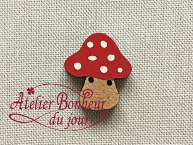 フランス製 木製ボタン アトリエ ボヌール ドゥ ジュール 【広いキノコ】