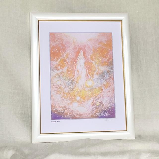 龍神の絵 龍神様の絵画 『RAINBOW LIGHT』 太子額付きジクレーアート