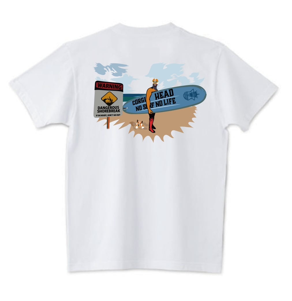 No.2020-welshcorgi-0042  : 5.6oz  サーフシリーズ コーギーサファーマン バージョン1 NO SURF NO LIFE