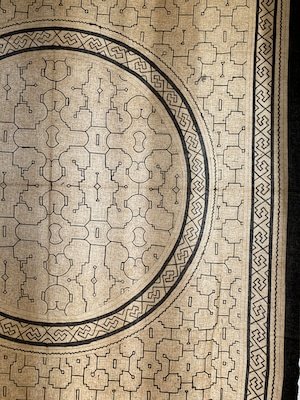 大判42白 155x135cm 円 飾りアマゾンの泥染め シピボ族 天然染め