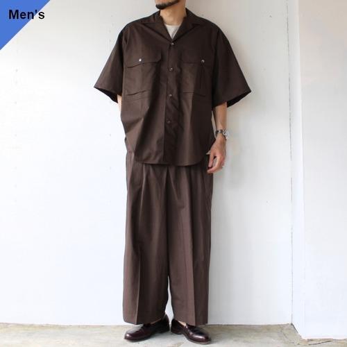 HAVERSACK 綿麻タイプライターオーバーシャツ&ワイドパンツ セットアップ Brown