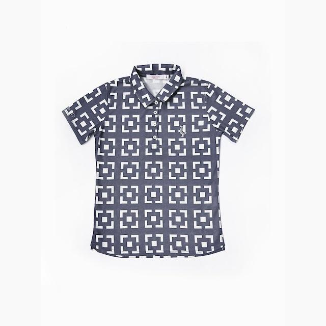 【 LADIES 】サンゴクロスポロシャツ <花ブロックスクエア><BLUE><Sサイズ>