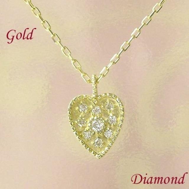 アンティーク調 ネックレス レディース ダイヤモンド 10金ゴールド ハート k10