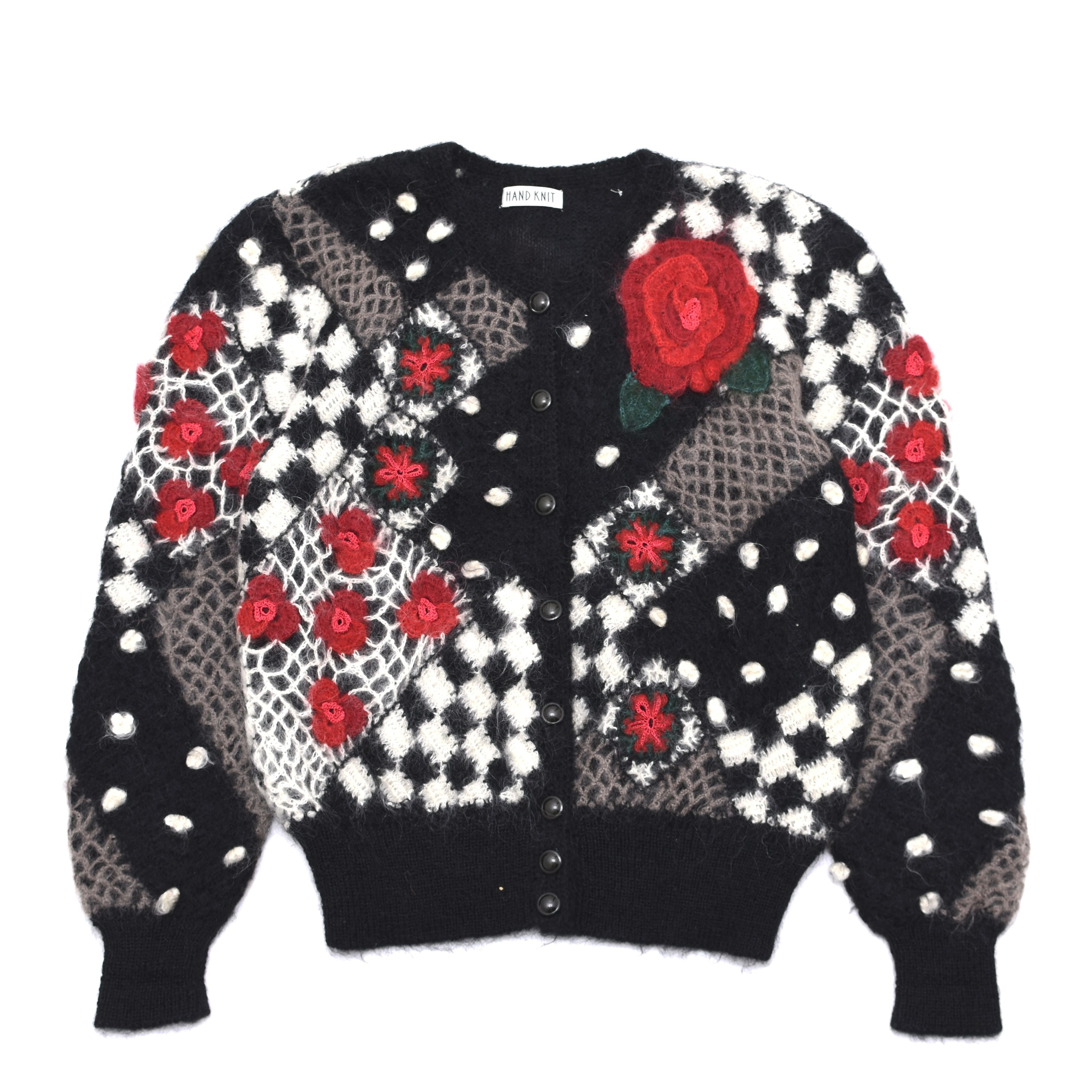 Hand made patchwork 3D knit cardigan