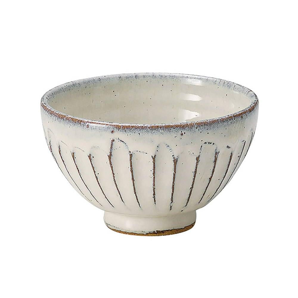 信楽焼 へちもん 飯碗 茶碗 約12cm 白釉彫 MR-3-3488