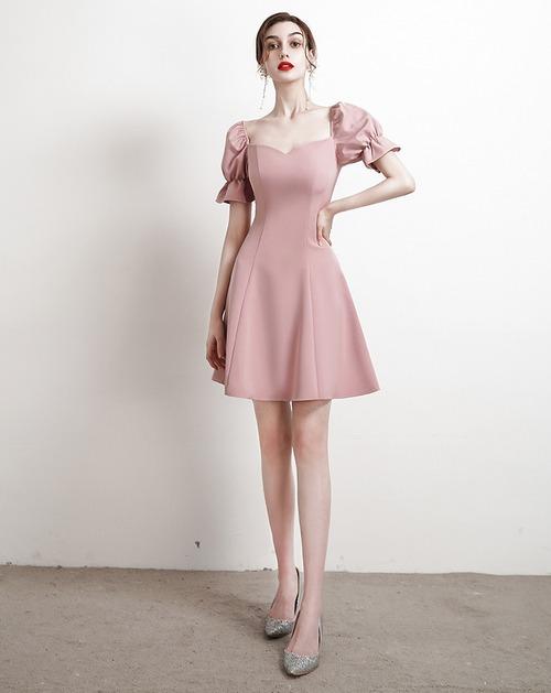 ピンク セミショート マット パーティードレス TM0133