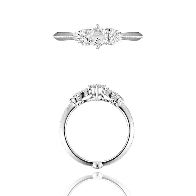 Blooming Rose Cut Diamond Ring / Pt900 3EX H&C Diamond