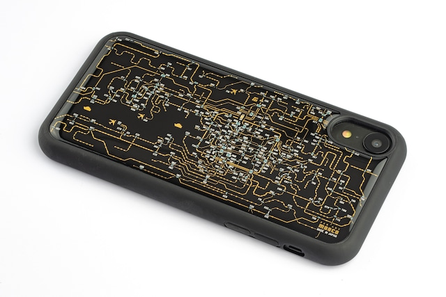 FLASH 関西回路線図 iPhone XRケース 黒【東京回路線図A5クリアファイルをプレゼント】