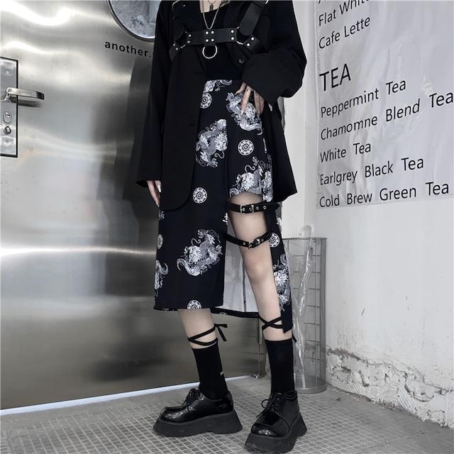 【ボトムス】個性派ファッションハイウエストイレギュラースリットスカート52676958