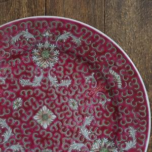 『朱赤の丸皿25センチ』景徳鎮
