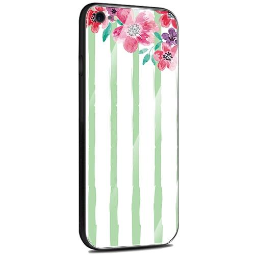 Jenny Desse Samsung Galaxy S8 ケース カバー 背面強化ガラスケース  背面ガラスフィルム シリコンハイブリッドケース 対応 sim free 対応 花とストライプ(グリーン)