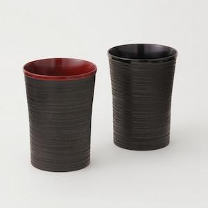 香川漆器 象谷塗ビアカップ ペアセット 朱&黒 中田漆木